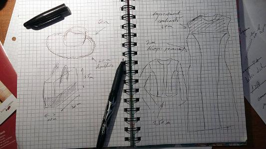 projet de robe et accessoires