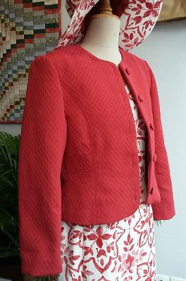veste d'été unie à col rond et manche tailleur
